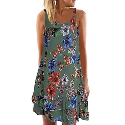 SEWORLD Kleid Damen Sommerkleid Abendkleid Strandkleid Party Kleider Ärmelloses Boho Kleid mit V-Ausschnitt Lose T-Shirtkleid Gedrucktes Minikleid Neckholder Kleider(Grün,EU-46/CN-4XL) -