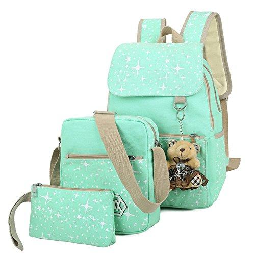Girls Star Pattern Canvas Backpack School Bag Clamshell Knapsack + Messenger Bag + Purse with a Bear Mint Green