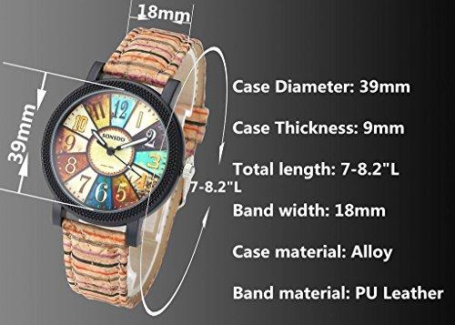 JSDDE Uhren,Retro Stil Tarnung Farbig Streifen Armbanduhr Vintage Damenuhr Holz Kork Muster PU Lederband Analog Quarzuhr - 5
