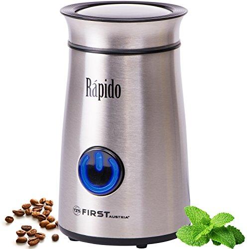 50g Edelstahl-Kaffeemühle mit blauem LED-Licht   150 Watt   Fein bis Grob   Espresso geeignet   Elektrische Kaffeemühle für Kaffeebohnen   Zerkleinerer für Walnüsse oder getrocknete Kräuter