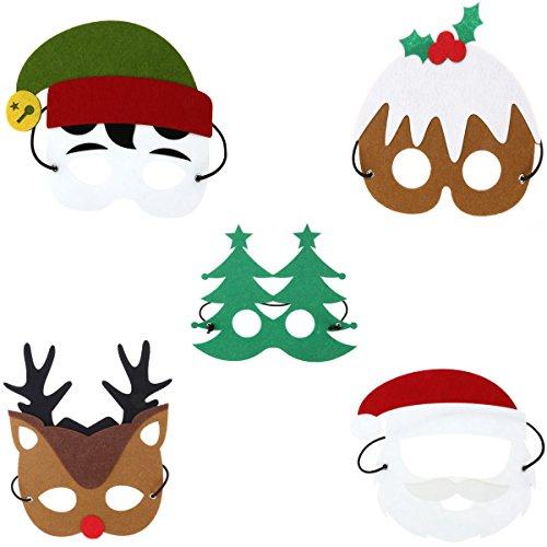 Tinksky Weihnachten Kostüm Masken Weihnachtsmann Schneemann Renier Weihnachtsbaum Elf Filz 5 Stücke (Machen Elf Kostüme)