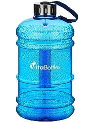 VITABOTTLES Gym Bottle Fitness Trinkflasche 2.2 Liter 2200ml XXL BPA-frei DHEP-frei Sport Water Jug Wasserkanister Water Gallon / Empfohlene Trinkmenge über den Tag