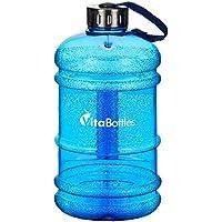 VITABOTTLES Gimnasio Fitness Botella para Beber 2.2 Litros XXXL Libre de BPA Libre de DHEP azul Deportes Botella para Beber Contenedor de Agua Galón de Agua