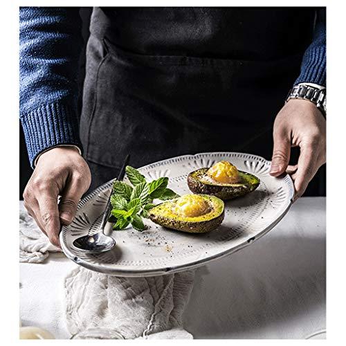 YYF Assiette en céramique gaufrée Royal Royal - Western/Steak/Déjeuner/Poisson de 8,5 à 12 pouces (Taille : 21cm)