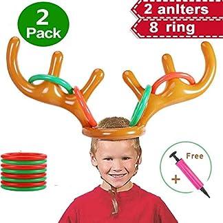 Volwco 3 Set Inflable Reno Cuerno Anillo Sacudida Juego, Christmas Fiesta Familiar Juego De Lanzamiento Juguete para Niños Adultos (3 Gorro De Asta Inflable, 12 Anillos, 1 Bomba)