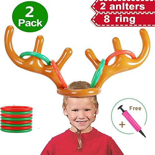 Volwco 2 Setzen Aufblasbar Rentier Geweih Ring Werfen Spiel, Weihnachten Familienfeier Spiel werfen Spielzeug für Kinder Erwachsene (2 aufblasbare Geweihmütze, 8 Ringe, 1 Pumpe) -