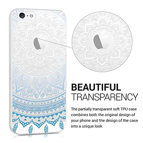 kwmobile Hülle für Apple iPhone SE / 5 / 5S - TPU Silikon Backcover Case Handy Schutzhülle - Cover Metallic Blau Blau Weiß Transparent IDS