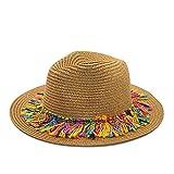 VISER Retro Mode Frauen Mädchen Stroh Stoffkappe faltbare breite Krempe Strandkappe Panama Hüte Sommer UV-Schutz Sonnenhut elegant einstellbar elegant Visier modisch Eltern-Kind-Hut UPF 50+ (55-58 cm)