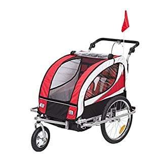 HOMCOM 440-001RD 2 in 1 Fahrradanhänger Jogger 360° Drehbar für Kinder, rot/schwarz