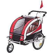 Homcom Kinderanhänger 2 in 1 Anhänger Fahrradanhänger Jogger 360° Drehbar für 2 Kinder