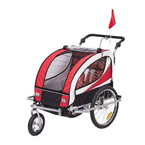 Homcom 360° Drehbar 2 in 1 Kinderfahrradanhänger Jogger