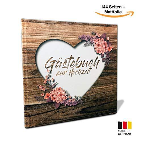 Rustikales Gästebuch für Deine Hochzeit - Gästebuch in Holz-Optik - Vintage Blumen Gästebuch für Deine Hochzeit - Hochzeitsgästebuch