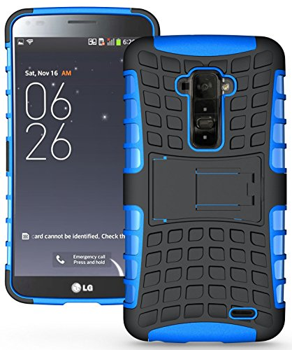 Heartly Flip Kick Stand Hard Dual Armor Hybrid Bumper Back Case Cover For LG G Flex D958 - Blue  available at amazon for Rs.399