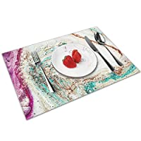 QCFW Placemats Place Mats Sets of 4 Table Mats PVC Washable Mat Heat Resistant Mat for Kitchen Garden BBQ Outdoor Stunning Agate Geode Rock