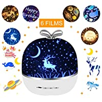 JBonest Rechargeable Star Night Light Projector 360 Degree Rotating Projecting Lamp with USB Cable 6 Films for Baby Nursery, Kid Room Decor, White