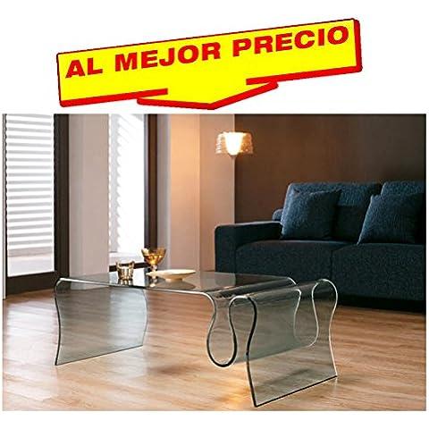 MESA DE CENTRO BAJA, CRISTAL CURVADO, 120x60 CMS DISEÑO MODERNO MODELO FLATEY - OFERTAS HOGAR -¡AL MEJOR PRECIO!