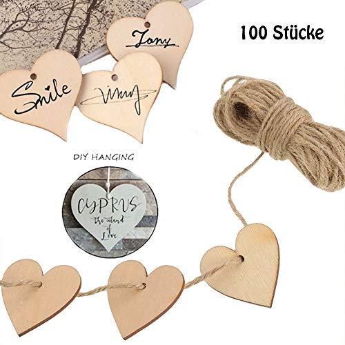 ToBeIT Herz Holz Scheiben 5cm 100 Stücke mit 10 meter juteschnur - Holzanhänger Herz für DIY Handwerk Verzierungen Naturholzscheiben (100pcs/50mm)