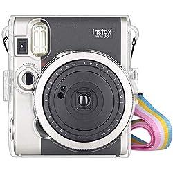 ❤ Housse Transparente étui pour Fujifilm Instax Mini 90 Neo Classic, Housse Sac de Caméra pour Fuji Fujifilm Instax Mini 90 Neo Classic, Sac à Bandoulière