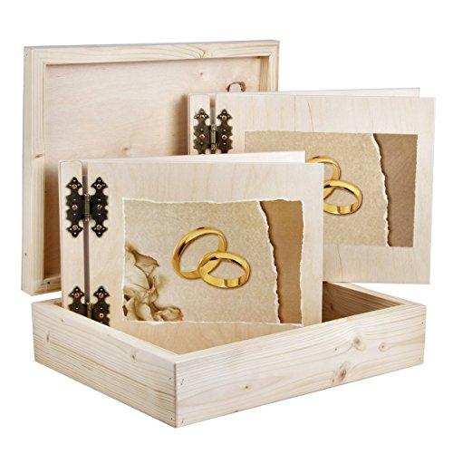 3pezzi set regalo album 25Fogli e libro degli ospiti di nozze in una scatola