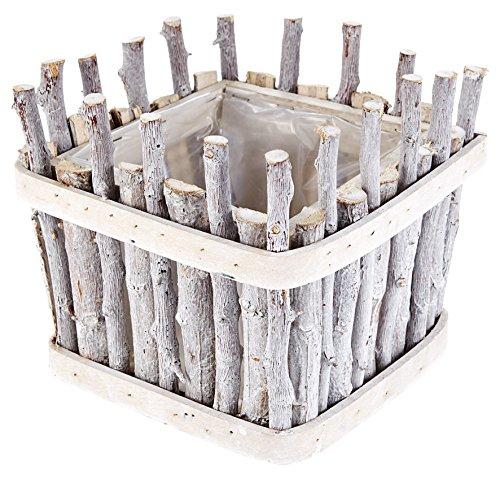 HEITMANN DECO - Pflanzkorb eckig aus Holz - stilvoller Blumenkorb für Frühling und Sommer - ideal für Haus und Wohnung