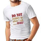 N4289 Männer T-Shirt Do not interrupt (Small Weiß Gold)