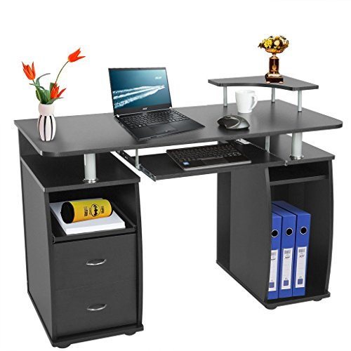 Computer Desk Pc Work Station Table For Home Office Furniture With Drawers Cupboards Sliding