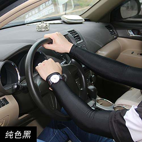 JinRui-Sport Tattoo Sleeve Sonnencreme Handarmband Ice Silk Ärmel Tattoo Arm Set, L, Solid Black 2er Pack (Rock Solid Tattoo)