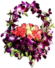 FloraZone Magical Wish Basket Arrangement of Roses and Orchids.