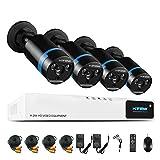 Haus Sicherheit Kamera System H.View 4 x 1080p Objektiv-Kamera mit 4CH 1080N DVR Videorecorder Tag Und Nacht IR-Cut Eingebaut CCTV Überwachungskameras Anschluss Ohne Festplatte
