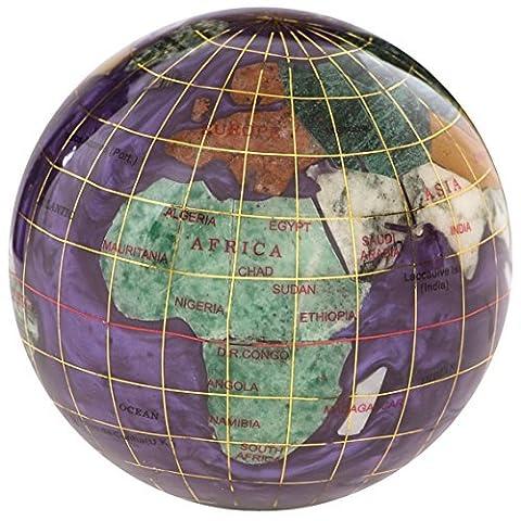 KALIFANO 3 Gemstone Globe Paperweight with Amethyst Opalite Ocean by Alexander Kalifano