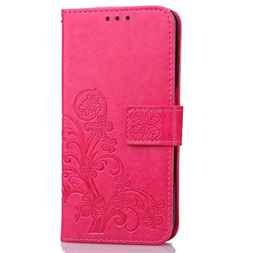 Wkae Case Cover mini Caso ZTE Nubia Z11, solido Custodia in pelle di colore premio TPU PU, caso di vibrazione del basamento della cassa del raccoglitore del modello di fiore in rilievo il caso di Luck Red