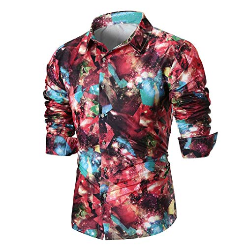 MRULIC Herren Shirt Kentkragen Langarm Shirts Businesshemd Freizeithemd -