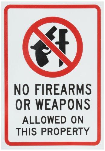 smartsign selbstklebendem Vinyl Label, Legend 'Schusswaffen oder Waffen nicht möglich auf dieser Eigentum' mit Grafik, 17,8cm hoch x 12,7cm breit, schwarz/rot auf weiß