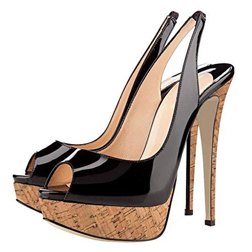 EDEFS Damen High Heels Slingback Sandalen Stiletto Heel Peep Toe Party Plateau Schuhe Holz