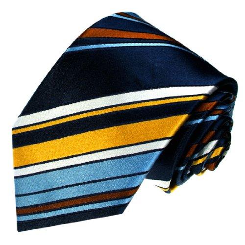 Preisvergleich Produktbild LORENZO CANA Marken Krawatte aus 100% Seide jacquard gewebt blau hellblau dunkelblau braun weiß schwarz Streifen 42070