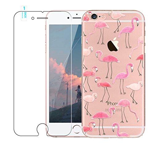 iPhone SE / 5 / 5S Hülle mit Panzerglas, Blossom01 Cute Funny Kreative Cartoon Transparent Silikon Bumper für iPhone SE / 5 / 5S - Flamingos