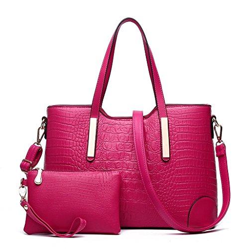 Baymate PU Leder Mode-Handtaschen Kuriertasche Damenhandtasche Schultertasche Handtasche Rose