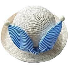 fb2834671889d Sombrero Redondo Sombrero De Playa Para Niñas Niños Sombrero De Paja Con  Bowknot Leche Blanca