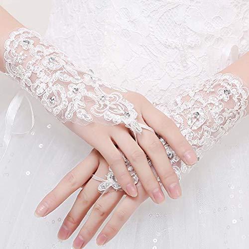 Caokang Romantische Damen Handschuhe Fingerlose Perlen Spitzenhandschuhe Weiß Rot Pailletten Handgelenk Länge Kurze Handschuhe Frauenzubehör,Weiß (Rote Fingerlose Lange Handschuhe)