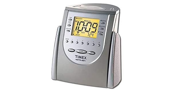 buy timex t311t auto set dual alarm clock radio titanium rh amazon in