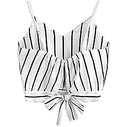 Tuopuda Crop Tops Mujer Verano Camisetas sin Mangas Halter Top Chaleco Camiseta (L, Blanco)