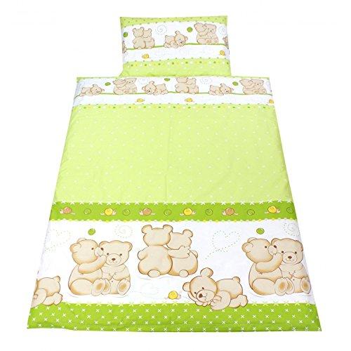 TupTam Kinderbettwäsche Set Gemustert 2 teilig, Farbe: Bärchen Freunde Grün, Größe: 135x100 cm