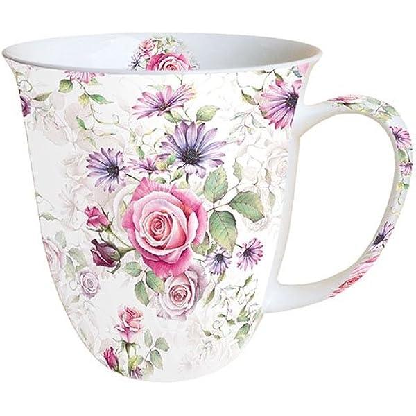 1 Porzellan Tassen Blumen VINTAGE FLOWERS Ambiente 0,4l Becher groß prächtig