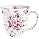 Ambiente Becher - Mug - Tasse - Tee / Kaffee Becher ca. 0,4L Madeline - Blumen - Rosen - Ideal Als Geschenk
