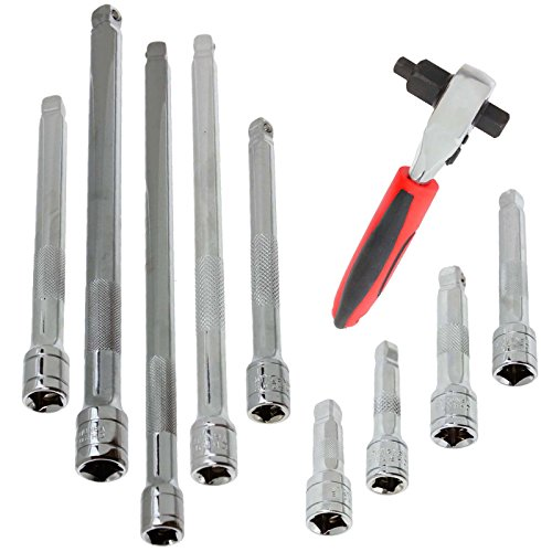spares2go 3in 1Stubby Ratsche & Wobble Verlängerung Bar Set (1/10,2cm 3/20,3cm 30,5cm) -