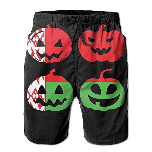 Mens Board Shorts Fashion Belarus Halloween Pumpkin Head 100% Polyester Beachwear/L (Is Halloween Everyday 2019)