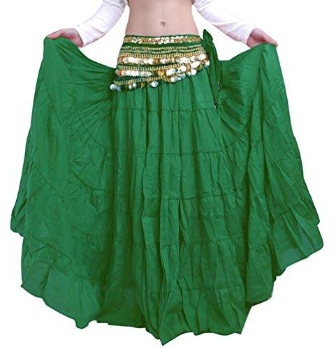 YiJee Frauen Bauchtanz Rock Bohemien Stil Langer Rock Dunkel Grün (Kleines Mädchen Zigeuner Kostüm)