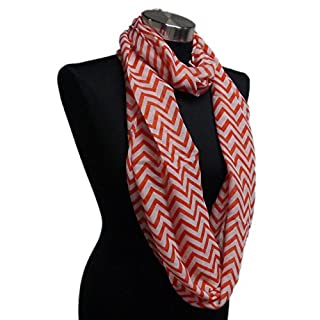 Adorox Soft Chevron Sheer Infinity Scarf in Contrasting Colors -  Red -