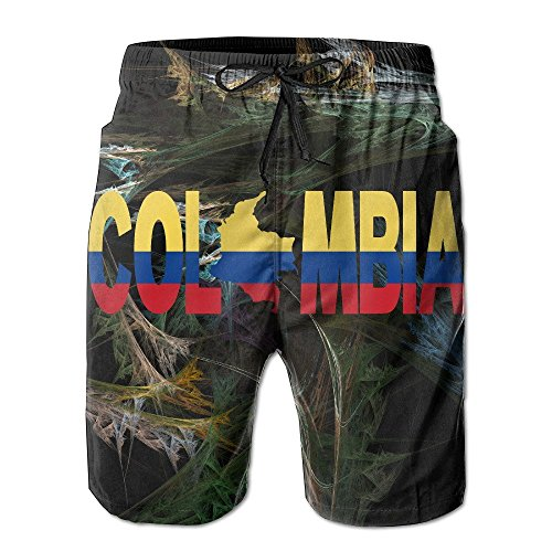 bikini bag Colombia Flag Summer Casual Breathable Cargo Shorts Swim Trunks Drawstring Striped Side Pockets