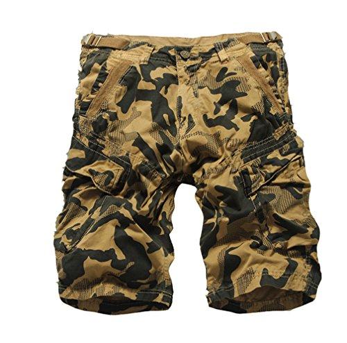 NiSeng Herren Taschen Hosen Tooling Shorts Camouflage Viele Tasche Gerade Zipper Baumwoll Shorts Lässige Im Freien Tan Yellow 36 (Shorts Baumwolle Tan)